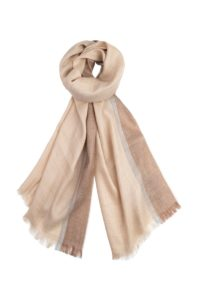 Maya ECO Beige Alpaca Wool Scarf with Brown and Grey stripes