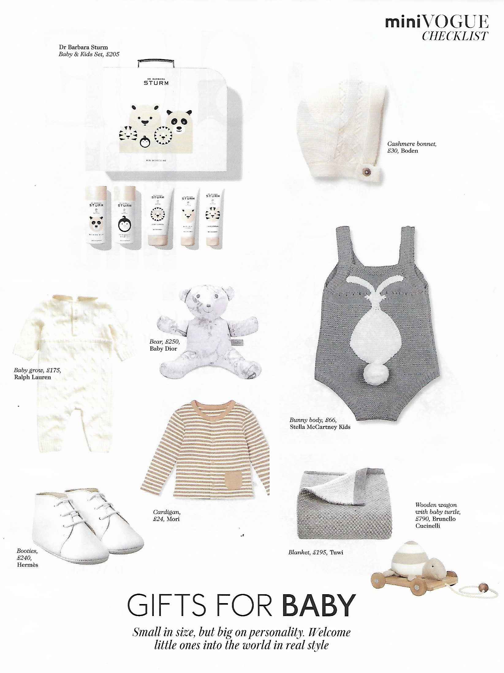 Vogue july 2020 gifts for baby checklist featuring Tuwi