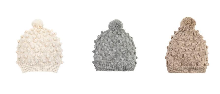 Popcorn Alpaca Wool Hand-Knitted Baby Hats